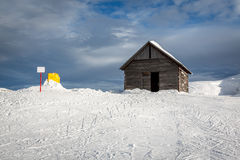 Old Barn in Madonna di Campiglio Ski Resort, Italian Alps Stock Photo