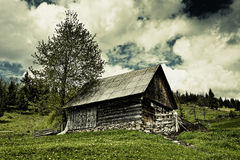 Old barn and moody sky Royalty Free Stock Photo