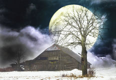 Old Barn and a moon. Spooky atmosphere in winter with old tree and a barn Stock Image