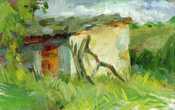 Old barn oil painting Royalty Free Stock Image