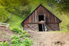 Old Barn cottage. Old barn scene in the mountains of Transylvania Royalty Free Stock Photos