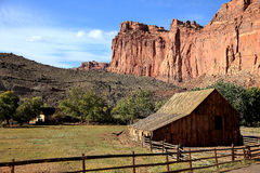 Old barn in the shadow of Capital Reef Royalty Free Stock Photo