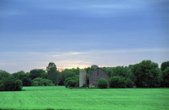 Old barn and Silo in Green Farm Fields. The sun is going down behind an old wooden country barn and silo set upon a green planted field with woods in background Stock Photos