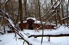 Old barn in snow Royalty Free Stock Photography