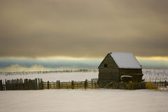 Old Barn in Snow Stock Photography