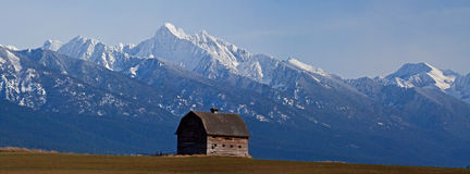 The Old Barn With The Snowy Mission Mountains Royalty Free Stock Photo