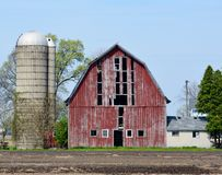 Old Barn. This is a Spring picture of an old and deteriorating barn located near Monee, Illinois off Interstate 57.  This picture was taken on May 7, 2015 Stock Photos
