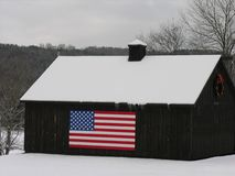 Old Barn with the Stars and Stripes. Stock Images