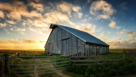 Old Barn at Sunset, Panoramic Color Image Royalty Free Stock Photography