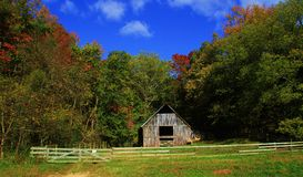 Old Barn Surrounded by Blue Sky and Fall Trees Stock Images