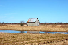 Old barn in the Swedish fields Stock Photos