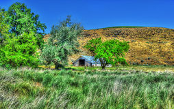 Old barn in the tall grass and rolling hills in the background HDR Stock Photos