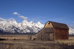 Old Barn Teton Range Rocky Mountains Snow Sky Stock Photos