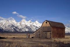 Old Barn Teton Range Rocky Mountains Snow Sky Stock Photos