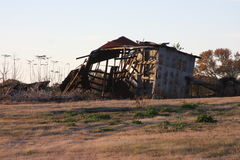 Old Barn. Two story Wood County Texas Rustic Barn, one good wind and it`s gone Stock Photo
