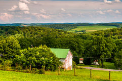 Old barn and view of rollings hills in rural York County, Pennsy Stock Photography