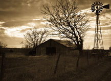 Old Barn & Windmill Royalty Free Stock Photos