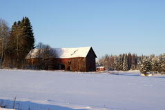 Old Barn in Winter Royalty Free Stock Images