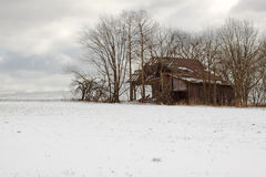 Old Barn in Winter. Winter landscape with a dilapidated old barn Royalty Free Stock Photography