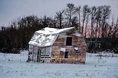 Old Barn During The winter Stock Image