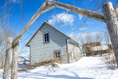 Old barn in winter season Stock Photo