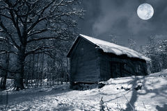 Old barn in winter snow Royalty Free Stock Photo