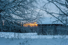 Old barn in winter Royalty Free Stock Image