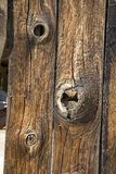 Old barn wood. And knot holes stock photo