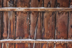 Old barn wood with snow Stock Photo