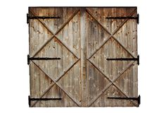 Old barn wooden country door isolated on white Royalty Free Stock Photography