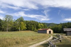 Old Barns and Split Rail Fence. Tipton Place in Cades Cove, North Carolina royalty free stock photos