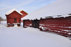 A old barns in wintry landscape Royalty Free Stock Photo