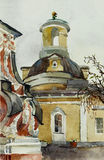 Old baroque church in Moscow watercolor art Stock Photo