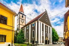 Old baroque church in Varazdin city, Croatia. stock photo