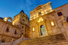 The old baroque town Noto at night. Part of the old baroque town of Noto in Sicily at night Stock Photography