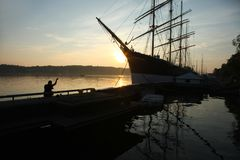 Old barque Pommern on sunset. In Marienhamn on Aland islands royalty free stock photo