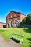 Old military building with bench royalty free stock photo