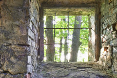 Old barred window. View of the old barred window and trees Royalty Free Stock Photo