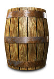 Old Barrel. An Old 3D wooden barrel placed on a white background Stock Photo