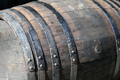 Old barrel. Old wooden barrel cask for alcohol Stock Photography