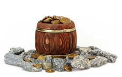 Old Barrel. With Gold Coins Royalty Free Stock Image