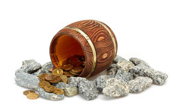 Old Barrel. With Gold Coins Royalty Free Stock Photo