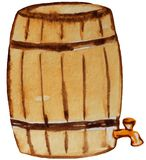 Old barrel of beer with a tap. watercolor illustration for design stock illustration