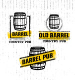 Old Barrel Creative Vector Sign. Stamp Design Element Concept On Grunge Distressed Background vector illustration