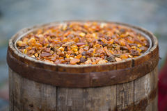 Old barrel filled with amber Royalty Free Stock Image