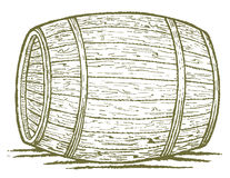 Old Barrel. Pen and ink style illustration of an old barrel Stock Photos