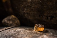Old barrel with spider web. Old barrel in a port wine celler with spider web Stock Image