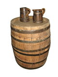 Old Barrel with two mugs isolated Royalty Free Stock Photo