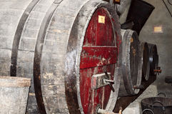 Old barrel used to contain wine for the aging Stock Photography