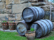 Old Barrels. Old whiskey barrels stacked up Royalty Free Stock Photography